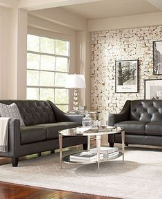 I am thinking of installing an exposed brick wall. Also like how tailored these couches are   Claudia II Leather Living Room Furniture Sets & Pieces - Living Room Furniture - furniture - Macy's