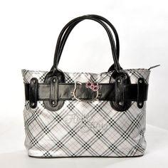 Hello Kitty Scottish Style Plaids Checkered Pattern Tote Shoulder Handbag Bag