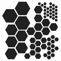 Multi-size hexagon stencil/template for painting, misting, chalk, etc. {The Crafter's Workshop - 12 x 12 Doodling Templates - Hexagons} Blackout Tattoo, Geometric Stencil, Geometric Shapes, Muster Tattoos, Stencil Designs, Stencil Patterns, Animal Print Rug, Stencils, Silhouettes