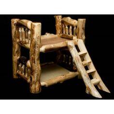 Aspen log pet bunk bed.  Cute idea for even the furry kids.