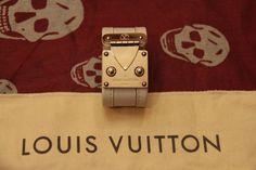 AUTHENTIC LOUIS VUITTON LIMITED EDITON S LOCK ME LEATHER METAL BRACELET CUFF #LouisVuitton