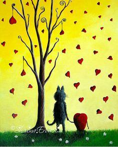 yellow art prints cat black kitten love heart by shawnaerback