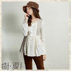 Artka O-Neck Long-Sleeve Hollow Out Patchwork All-Match Shirt SA10945Q
