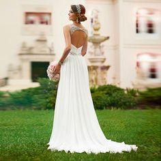 V NECKLINE OPEN BACK WEDDING DRESS CRYSTAL BEADED WHITE CHIFFON WEDDING DRESS