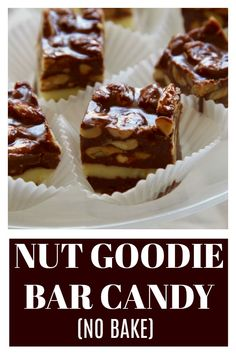 Nut Goodie Bar Candy is an addictively sweet chocolate peanut butter candy bar famous in Midwest USA. An easy no-bake candy served right from the freezer! Chocolate Candy Recipes, Easy Chocolate Desserts, Easy No Bake Desserts, Decadent Chocolate, Healthy Dessert Recipes, Delicious Desserts, Nut Recipes, Fudge Recipes, Baking Recipes