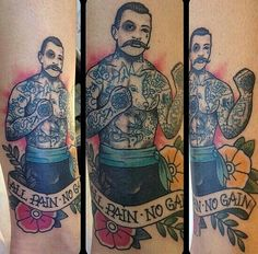 "Traditional boxer tattoo. ""All pain, no gain"""