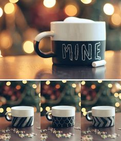DIY chalkboard paint mugs by the style files.  Perfect Christmas gift!  Could get the mugs cheaply at the Dollar Tree and then buy a can of chalkboard paint on Amazon: http://www.amazon.com/gp/product/B003ULNC0Q/ref=as_li_ss_tl?ie=UTF8=1789=390957=B003ULNC0Q=as2=woodbrewcomp-20