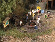 Busch Gmbh Campfire Scene -- HO Scale Model Railroad Building Accessory -- #5407