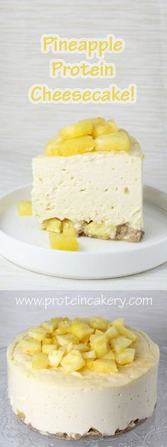 Pineapple Protein Cheesecake! Andréa's Protein Cakery high protein recipes, gluten free cheesecake, low carb cheesecake