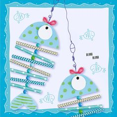 Tinker summery card for children. Ladybug Crafts, Fish Crafts, Summer Crafts For Kids, Summer Diy, Eagle Craft, Ice Painting, Snail Craft, Easy Homemade Gifts, Arts And Crafts
