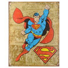 DC Comics Vintage Metal Art Decorative 'Superman Weathe Panels' Tin Sign