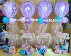 Unicorn Balloon Centerpieces #unicorn 1st Birthday Centerpieces, Unicorn Centerpiece, Balloon Centerpieces, Birthday Party Decorations, Birthday Ideas, Balloon Arrangements, Balloon Decorations, Carousel Birthday Parties, Unicorn Themed Birthday Party