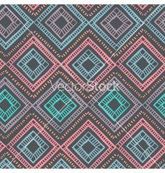 Tribal vintage geometric diamond seamless vector pattern by transia on VectorStock®