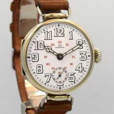 1916 Vintage Omega WWI Military Nickle watch with Oscillating Lugs with Original White Enamel Dial with Arabic Numbers with Inner 13 - 24 Hour Track. Triple Signed. Swiss Case Very Good Case Original,