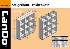 Kijk op deze #werktekening hoe je een super mooie #vakkenkast kunt maken van #steigerhout.