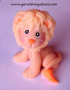 Lion geraldine gabasa porcelana fria masa flexible pasta francesa figurine…