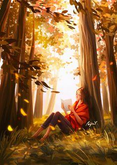 Cartoon Girl Drawing, Girl Cartoon, Cartoon Art, Illustration Mignonne, Illustration Mode, Illustrations, Forest Book, Forest Art, Reading Art