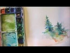 How to Paint Lively Pine Trees in Watercolor - love Angela Fehr's watercolor paintings!