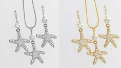 Handmade Crystal CZ Starfish Necklace Earrings Set Sparkle 2078 U Starfish Necklace, Earring Set, Jewelry Sets, Special Occasion, Sparkle, Bridal, Crystals, Handmade, Crystal