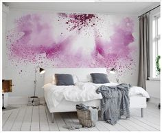 3d wallpaper custom 3d murals wallpaper for flowers TV setting wall powder purple watercolor abstract painting flowers wallpaper #Affiliate