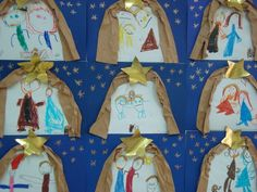 Children's nativity scene display for a church wall maybe Christmas Arts And Crafts, Preschool Christmas, Christmas Nativity, Christmas Activities, Catholic Crafts, Church Crafts, Magic For Kids, Art For Kids, Christmas Mood