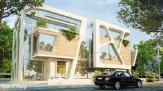 Nada Elhadedy's project is a contemporary twin villas in new Cairo Egypt. The design was meant to separate each villa's entrance in a unique way.