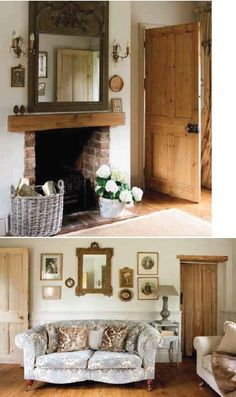 LISMARY'S COTTAGE: Natural doors, mantle, brick fireplace. Country home love!