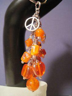 Orange Glass Bead Purse Charm / Key Chain by FoxyFundanglesByCori, $10.00