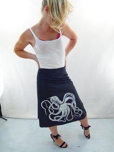 Octopus Print Skirt Aline Cotton Skirt Silk by AngiesSweatshop
