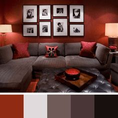 New living room red sofa brown ideas Diy Living Room Decor, Living Room Red, Paint Colors For Living Room, Interior Design Living Room, Living Room Furniture, Living Room Designs, Home Decor, Design Apartment, Red Sofa