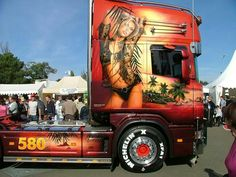 Customised Trucks, Custom Trucks, Show Trucks, Big Trucks, Airbrush Designs, Truck Paint, Road Train, Volvo Trucks, Trucks And Girls