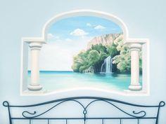 Trompe l'oeil ad acrilico su muro 150x100 cm.