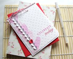 Stamped Birthday Card Handmade White and Pink by AlmondCrafts, $5.50