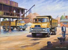 Vintage Trucks, Old Trucks, Classic Trucks, Classic Cars, Transport Pictures, Old Lorries, Road Transport, Truck Art, Car Posters