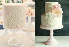 Doile Lace Cakes & Tutorials on Cake Geek Magazine (cakes by Sweet Bloom Cakes, Australia). See the full collection of doile lace cakes here: http://cakegeek.co.uk/index.php/doile-lace-cakes/