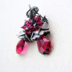 Blooming fuchsia silver earrings ooak gift for her by EsartFelt