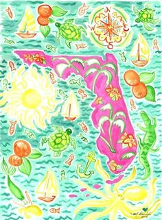 Items similar to Palm Beach Style State of Florida fine art print boarder and backing and clear sleeve included on Etsy Lily Pulitzer Painting, Lily Pulitzer Wallpaper, Lilly Pulitzer Prints, Palm Beach Decor, Art Vintage, Vintage Florida, Coastal Art, State Of Florida, Florida Maps