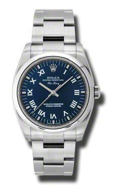 Rolex Oyster Perpetual Air-King Watches. 34mm stainless steel case, domed bezel, blue dial, Roman numerals and index hour markers, Oyster bracelet.
