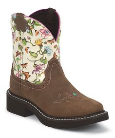 Another great find on #zulily! Black Walnut Floral Leather Cowboy Boot #zulilyfinds
