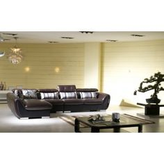 Modern Low Profile Black Leather Sectional Sofa w/Adjustable Headrests and Decorative Fabric Pillows