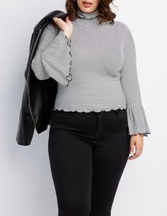 4e9e3623c6a Plus Size Ribbed Lettuce Edge Mock Neck Top