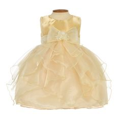 Gold Frilly Organza Infant Gown