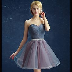 Cocktail Party Dress Ball Gown Strapless Short / Mini Satin / Tulle with Side Draping / Sequins Prom Party Dresses, Ball Dresses, Ball Gowns, Dressy Outfits, Outfits For Teens, Tulle En Satin, See Through Prom Dress, Vestido Multicolor, Sweetheart Prom Dress
