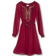 """{ Altuzarra for Target } Embellished Dress Live your dark fairytale dreams in this stunning burgundy peasant dress with embroidery, gold sequin embellishment and tassel tie. This dress is tasteful sexy & chic - it's perfect for any party!  U.S. Retail Value: $54.99. Sold out, rare, hard to find. New with tags, never worn. 100% Polyester.   Approximate Measurements: Bust 48"""" Waist 30"""" to 40"""" stretch Hips 48""""  Price is firm for now as I'm still undecided whether I want to part with it. 3rd pic…"""