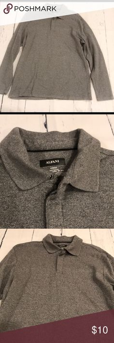 NWOT Alfani Collared Polo NWOT Alfani Collared Polo in large. Color is a nice heather gray. Perfect work shirt, golf shirt or an everyday wear. From a smoke free home Alfani Shirts Polos