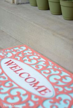 my pretty painted outdoor welcome mat, outdoor living, painting, reupholster