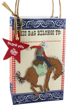 Cowboy party bag | The Little Things : Kind of a busy favor bag, but GREAT idea to attach your catering biz name to bag!
