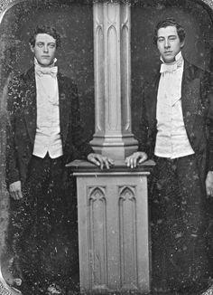 Daguerreotype portrait of two unidentified men posing next to a pillar, c. 1840′s.