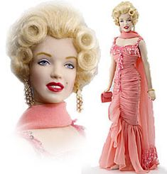 """Franklin Mint Marilyn Monroe: Gentlemen Prefer Blondes, 18"""" tall, dressed in coral gown worn, hand-numbered limited edition of only 750 dolls worldwide. Released 2005; original price $135. Z"""