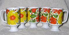 "Vintage Retro Mad Men Colorful Floral Made Expressly for Good Wood - Set of 6 - Pedestal Cups / Mugs 4.75""H X 2.75""W http://www.amazon.com/dp/B01AG57F6A/ref=cm_sw_r_pi_dp_I.TUwb05WK9QJ"